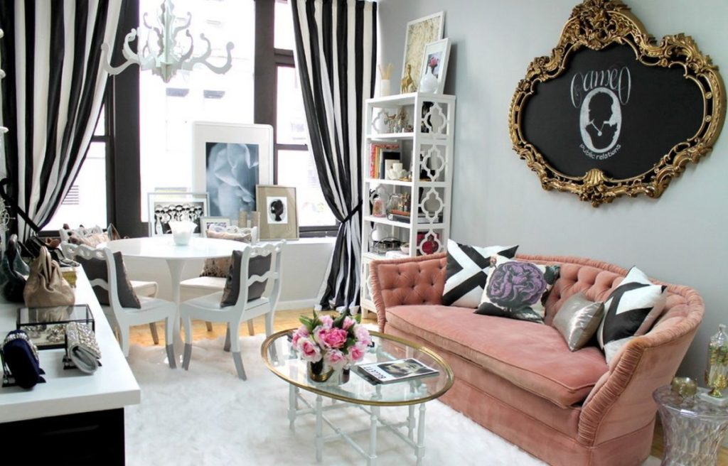 pale-pink-sofa-and-striped-curtains