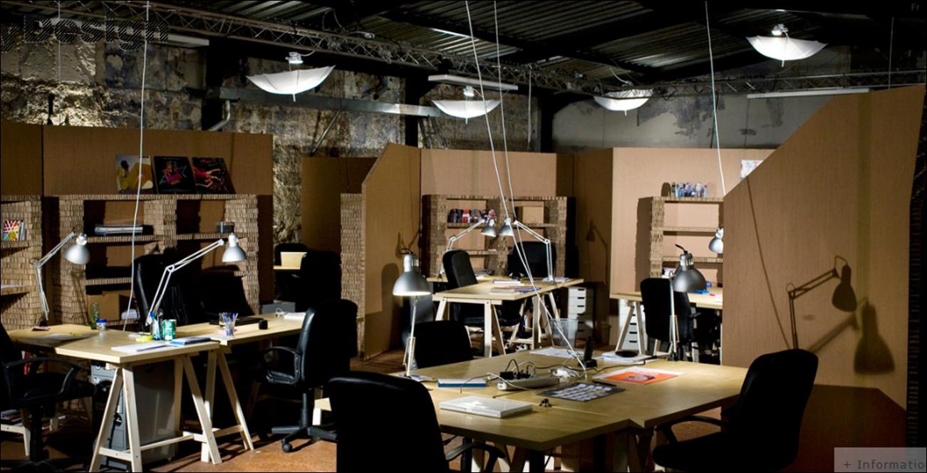 Cardboard office in paris