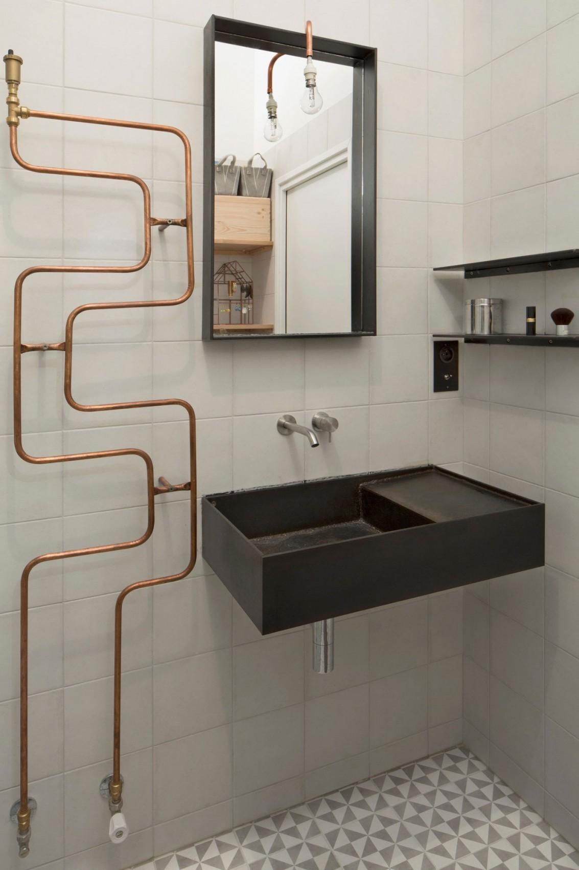 Paris Loft Renovation Bathroom Copper Accents