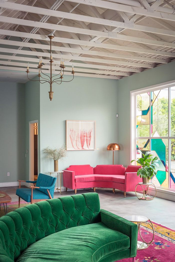Pink Sofa And Brightly Colored Furniture