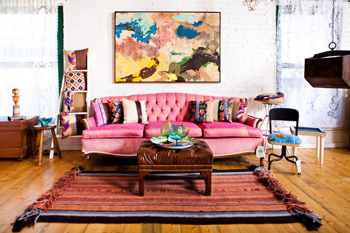 Pink Sofa In Colorful Eclectic Decor