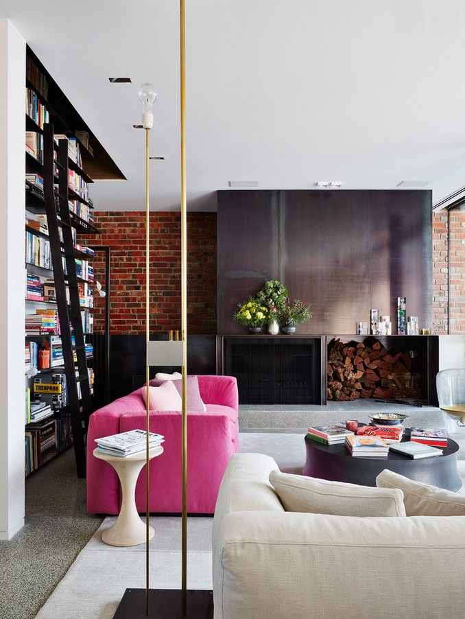 Pink Sofa In Industrial Inspired Room