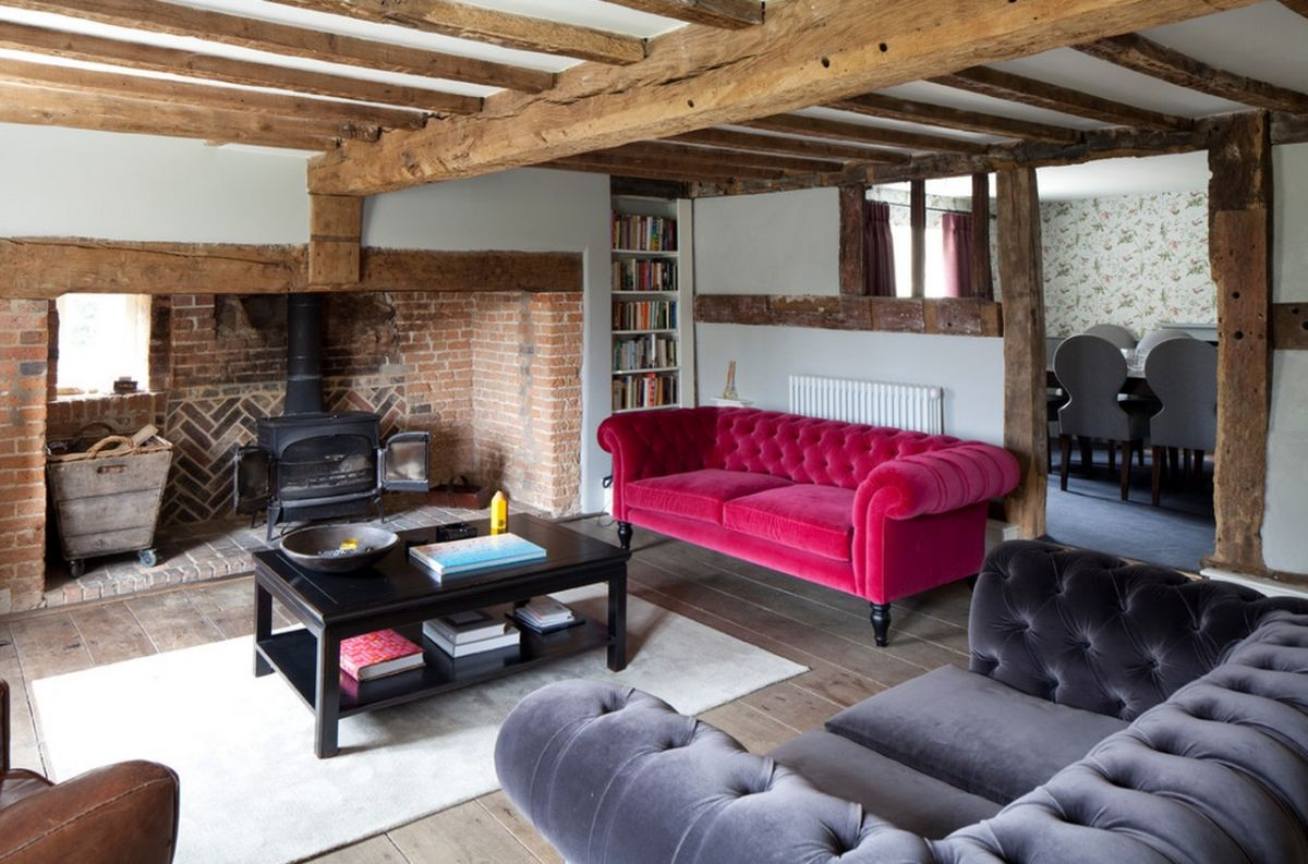 Pink Velvet Sofa And Wooden Beams