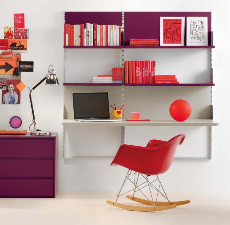 plum and red perfect combo - Red Home Interior