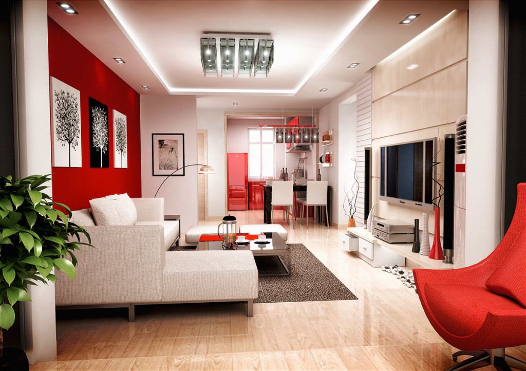 Red And White Living Room red-and-white-decor-cream-accents