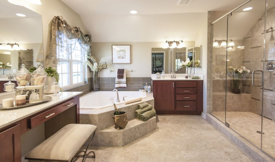 Fresh designs built around a corner bathtub for Model bathrooms pictures
