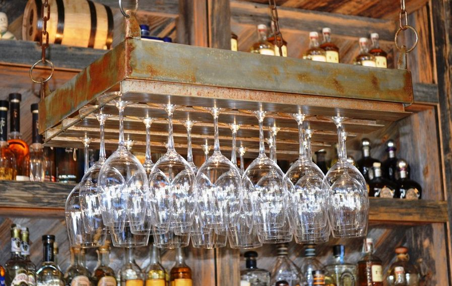 rustic metalic wine glass hanging - Hanging Wine Glass Rack