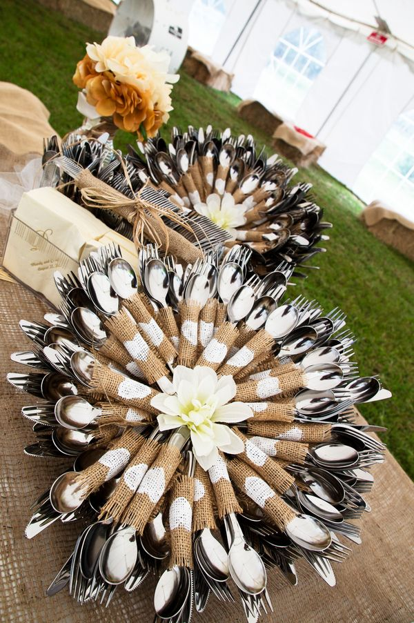 silverware bundles with heart-stamped burlap strips