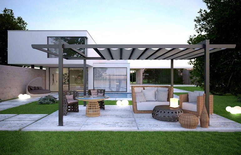 Modern pergola designs inspired by the classic structures for Pergola aluminium design