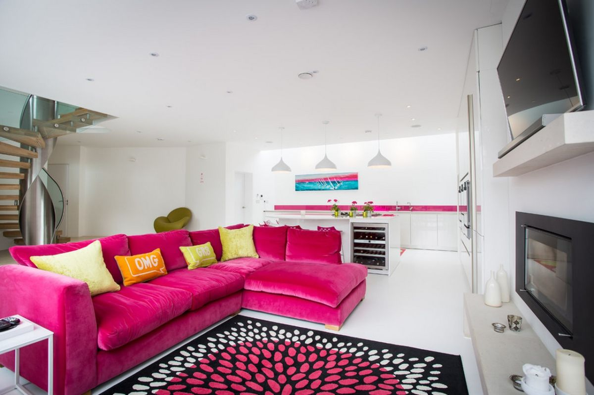 Black and white and pink living room - Sofa Coordinates With Area Rug And Kitchen Accents