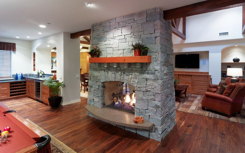 stone two sided fireplace design