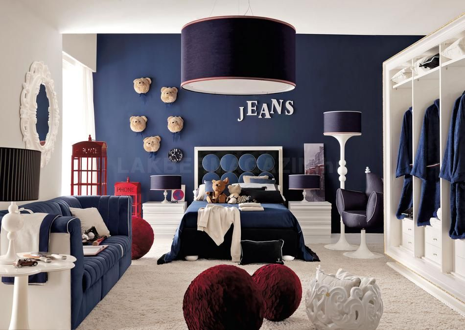 Teenage Room In Blue With Red Accents