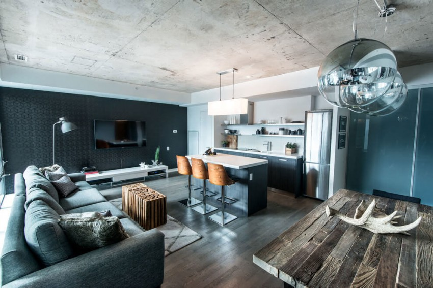 Industrial loft design with an intriguing color palette for Wohnung dizayn