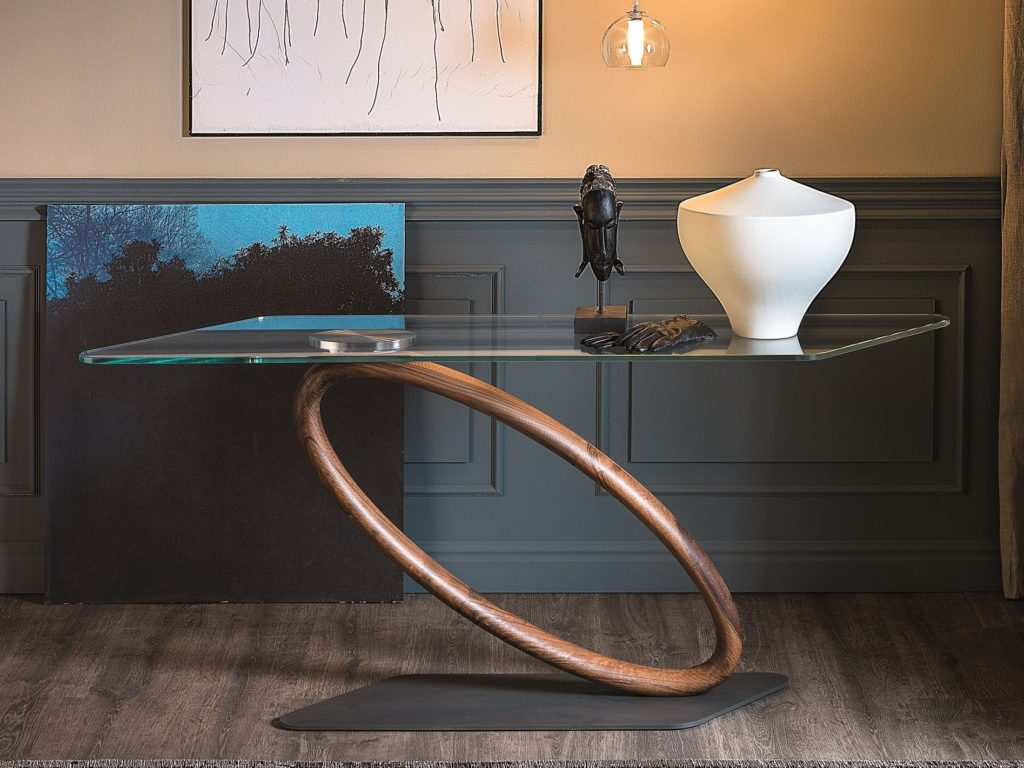 Glass console tables why we love them and how to use them the tour console table geotapseo Image collections
