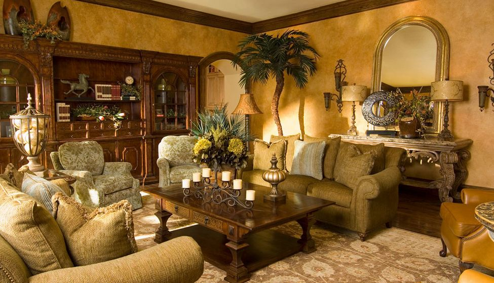 Tuscan Living Room With Faux Gold Walls