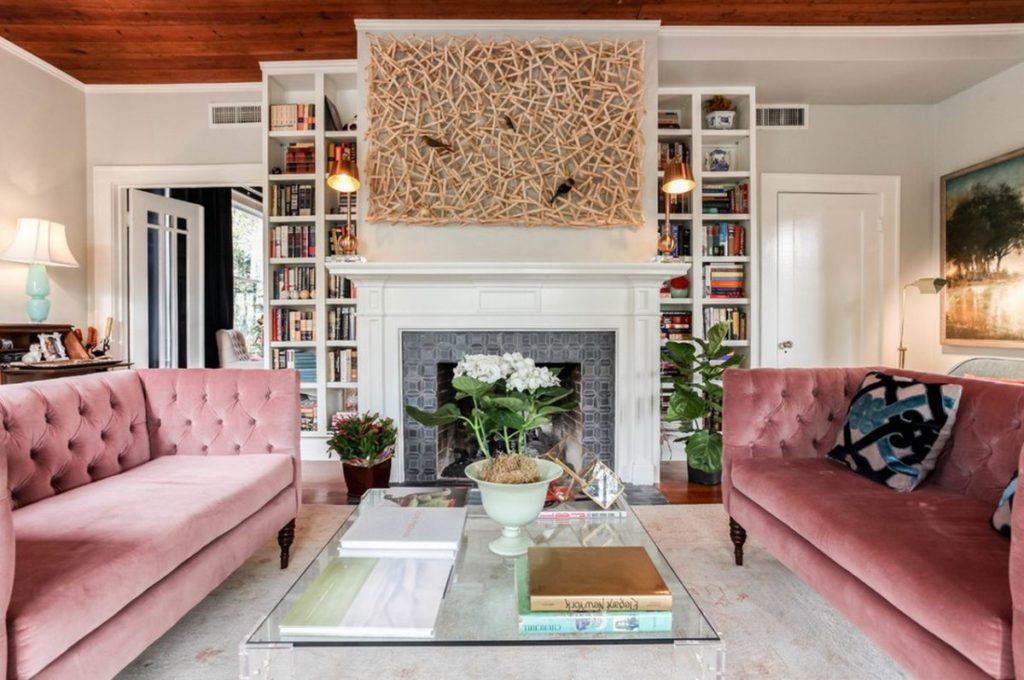 two-matching-pink-sofas