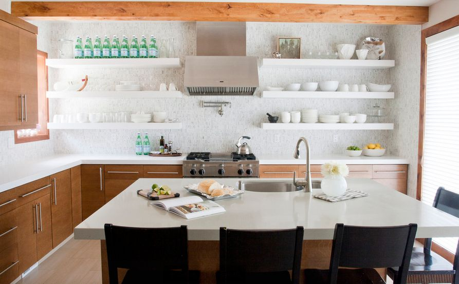 white kitchen shelves design