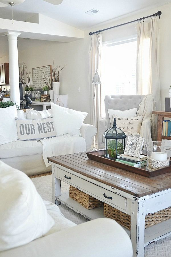 White Sofa Rustic Accent For Living Room