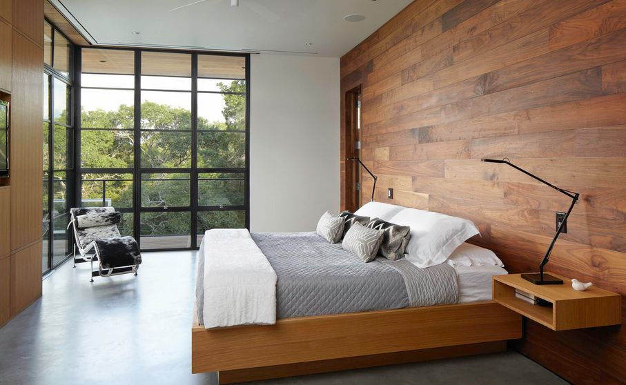 Wooden Wall Minimalist Bedroom