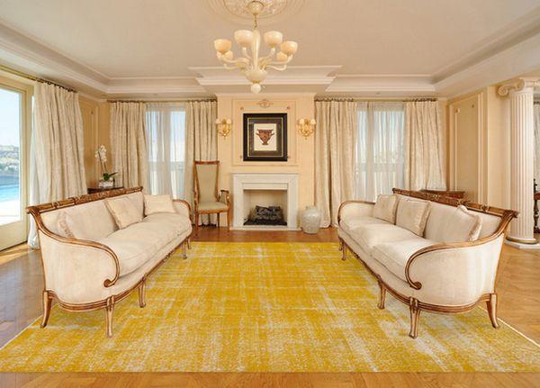 Gelb-Wohnzimmer-Teppich