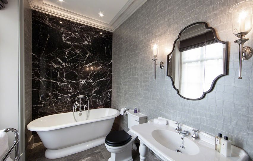 Bathroom Accent Wall With Black Marble