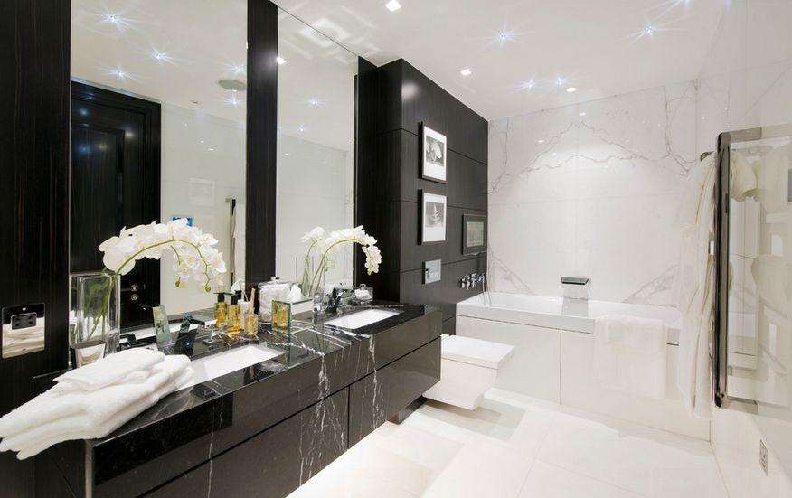 Black marble floating bathroom vanity