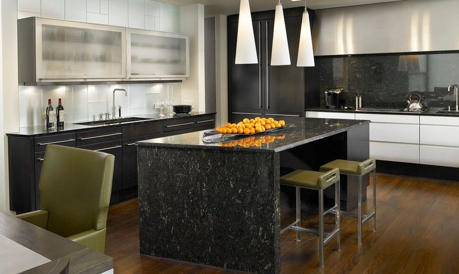 Kitchen Black Granite Backsplash