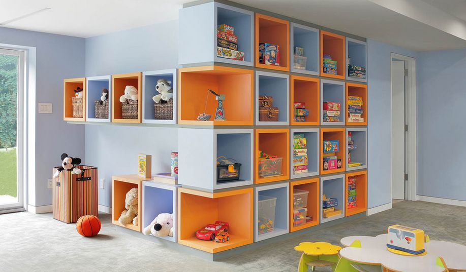 Boxed playroom storage corners & Kid-Friendly Playroom Storage Ideas You Should implement