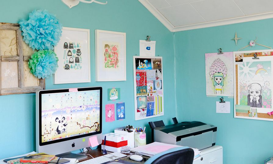 Superieur Creative Tiffany Blue Paint Walls For Office