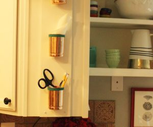Versatile and Chic – DIY Copper Cup and Leather Kitchen Organizer