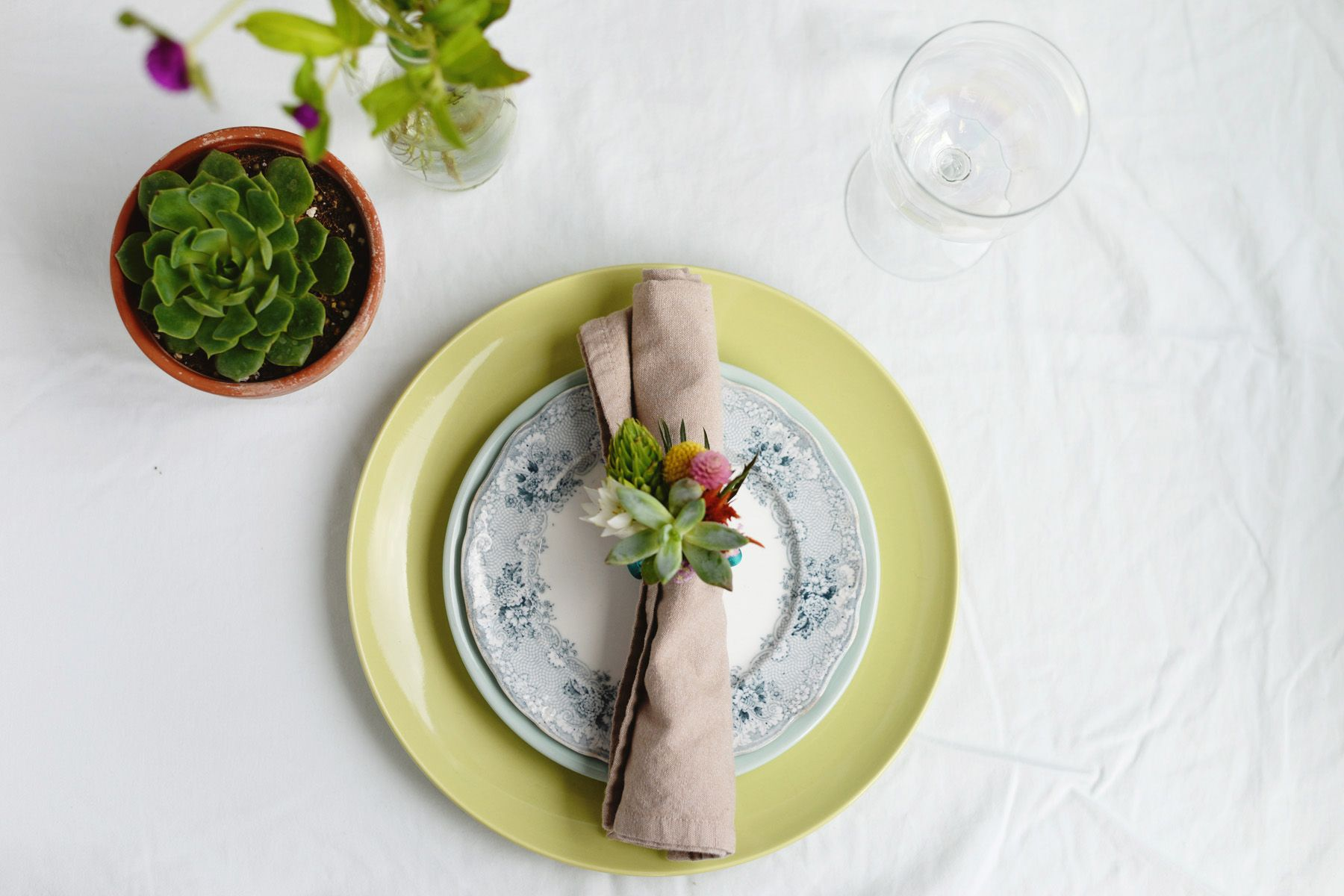 DIY Floral Napkin Rings on Plate
