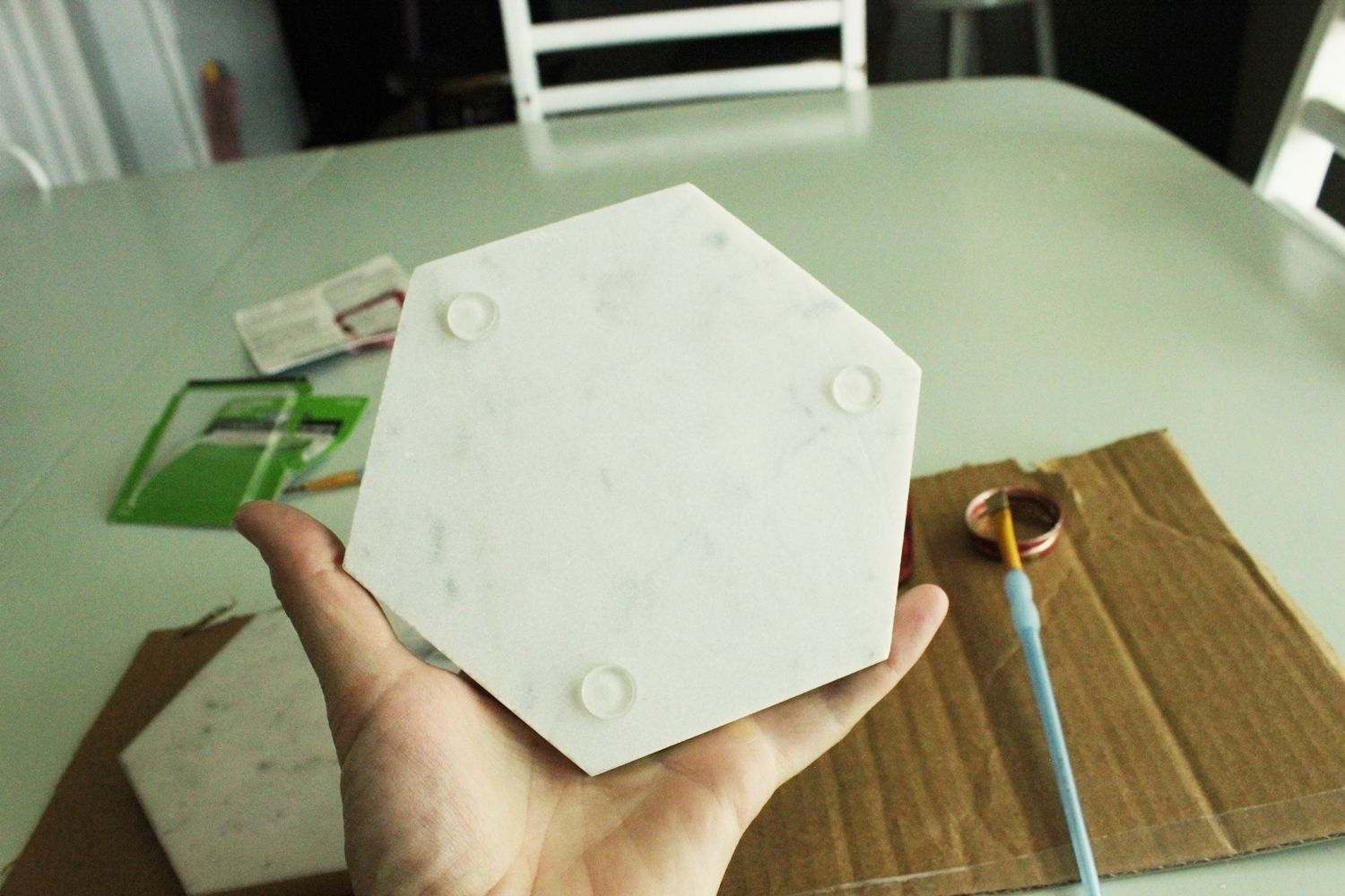 DIY Marble Hex Tray Attach Rubber