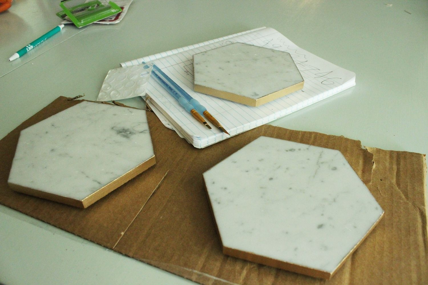 DIY Marble Hex Tray Finished