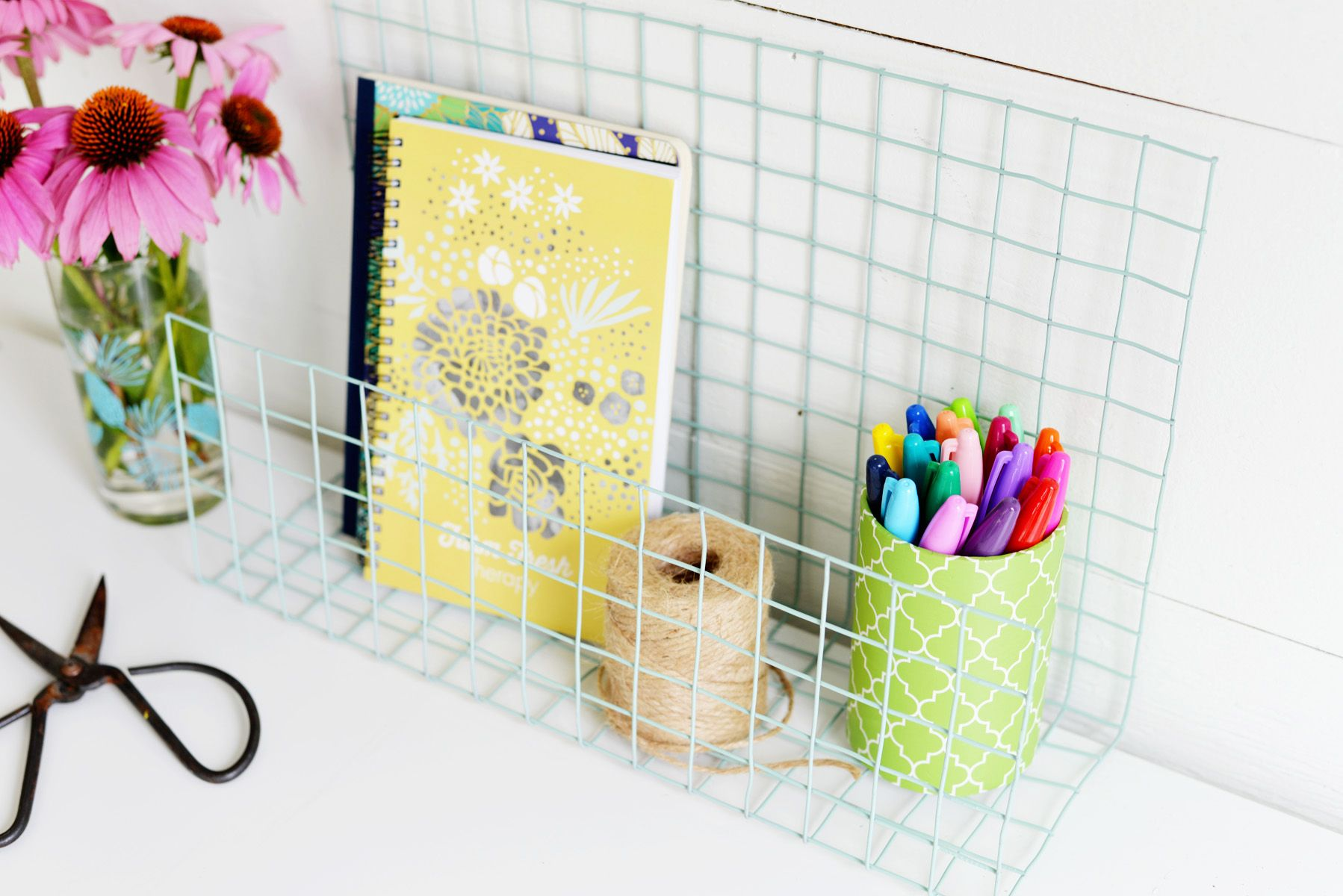DIY Wire Desk Organizer View