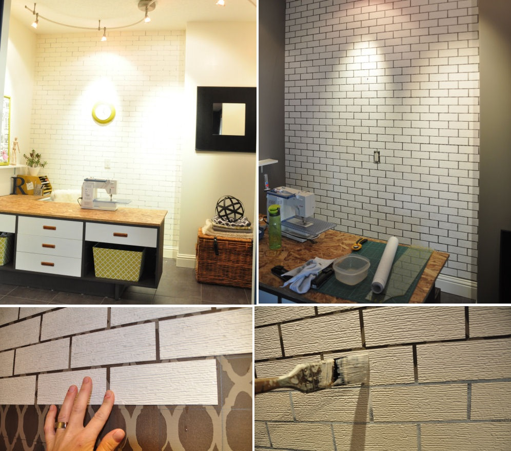 Diy faux brick wall view in gallery