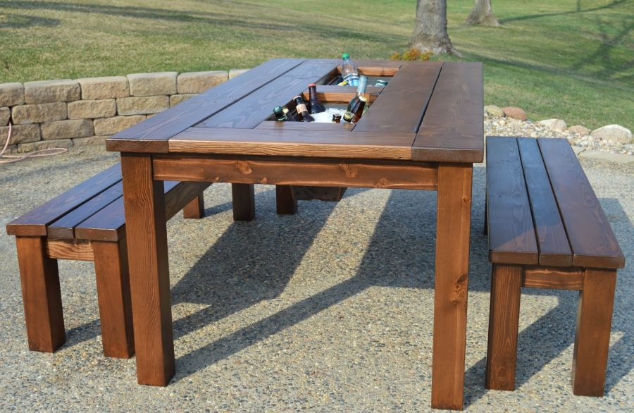DIY patio table with built in ice boxes. 50 Tips and Ideas For a Successful Man Cave Decor