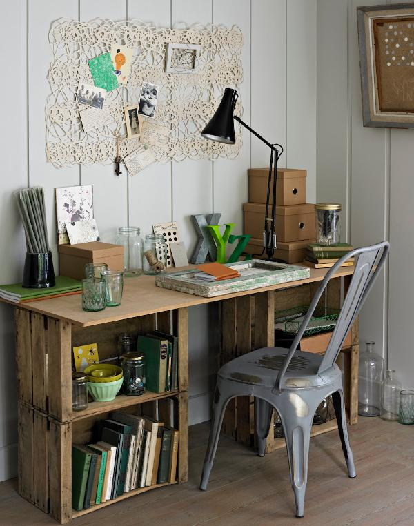 Desk made from old crates