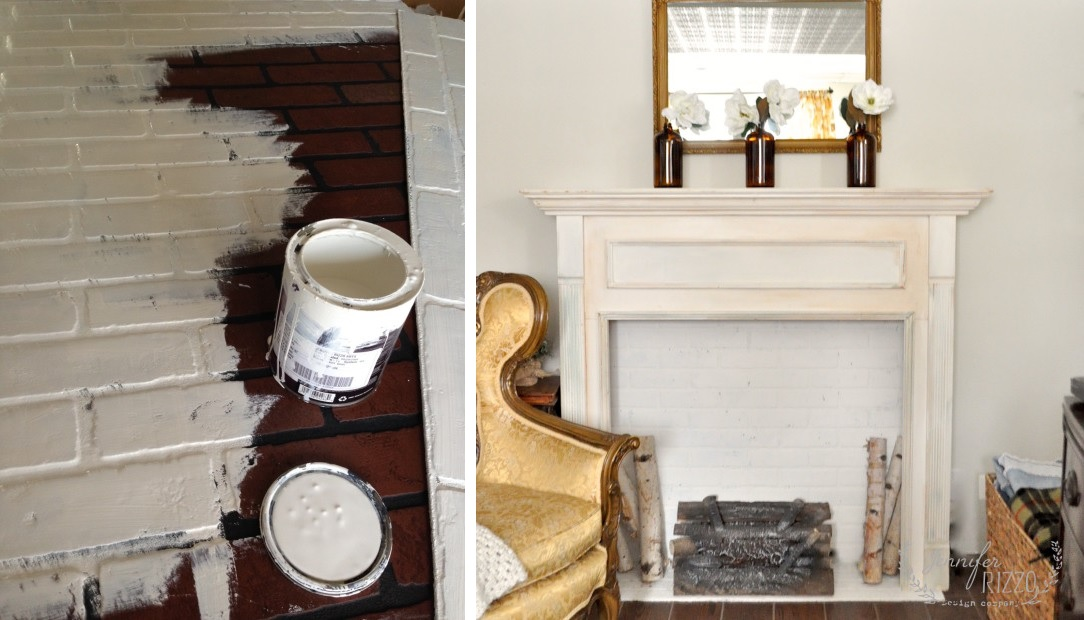 Fireplace faux brick
