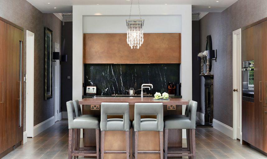 Kitchen black splash accent with black marble