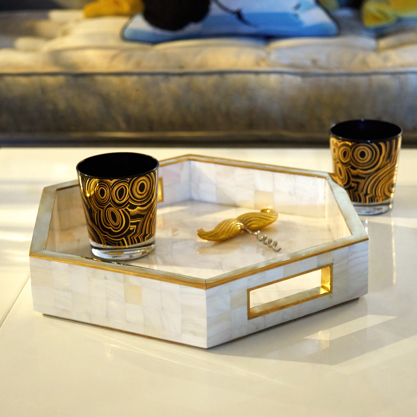 Marble hex trays