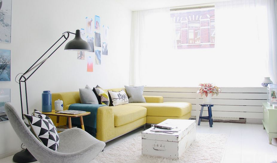 Minimalist Clean Design With Yellow Sofa