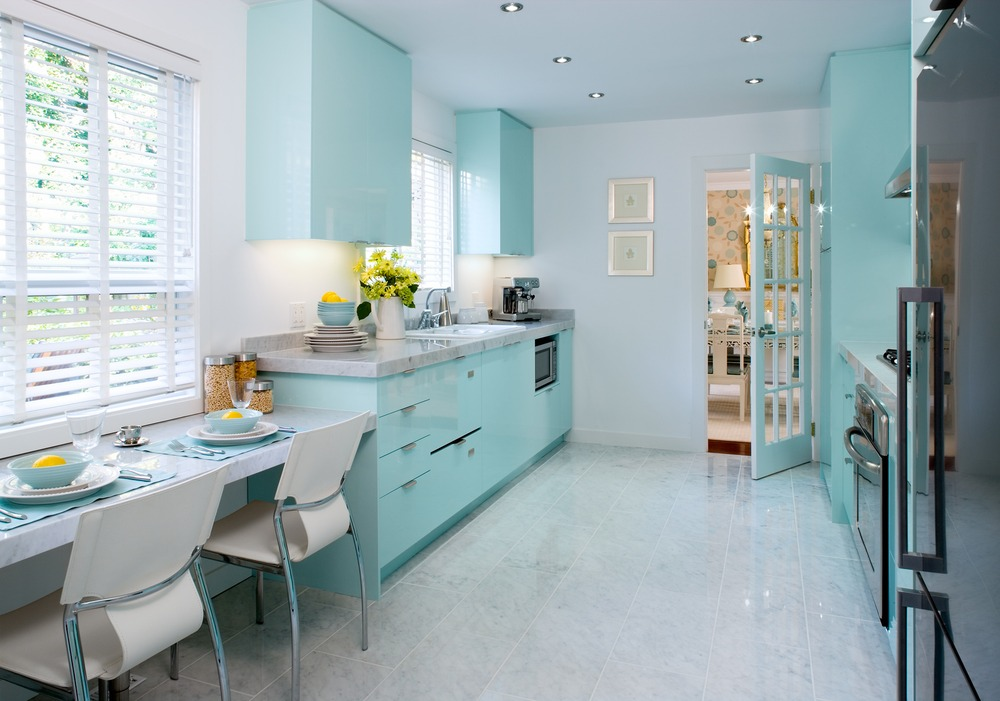 Modern And Retro Tiffany Blue Paint For Kitchen