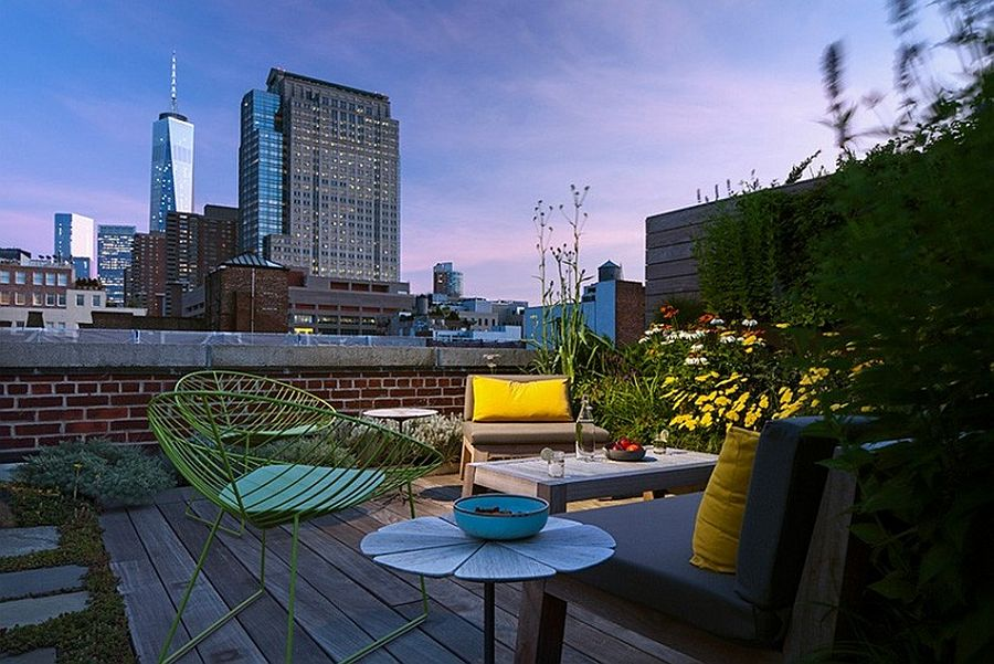 NYC Rooftop garden of the renovated
