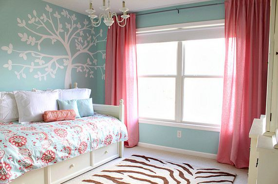 Organic Girl Room With Tiffany Blue Paint