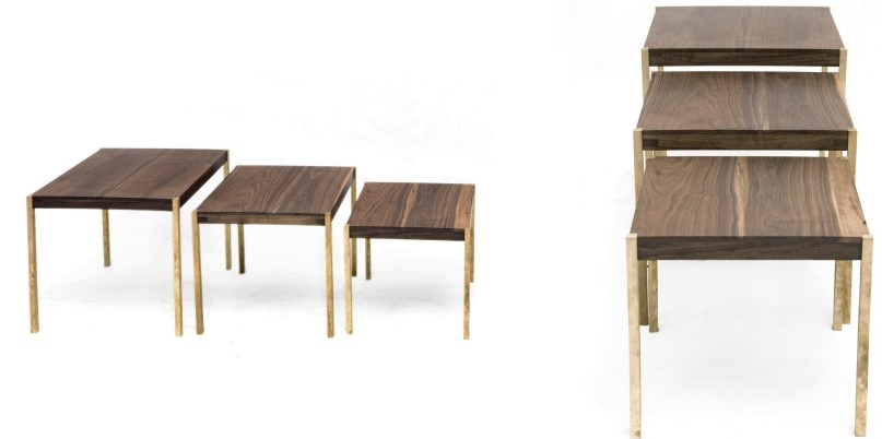 Organic modern wood nesting tables