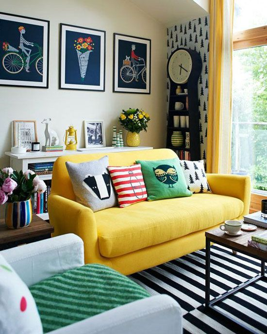 Delightful How To Design With And Around A Yellow Living Room Sofa Part 2