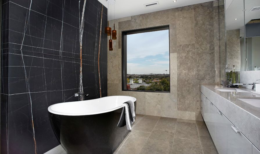 Residential Church Bathroom With Black Marble Wall