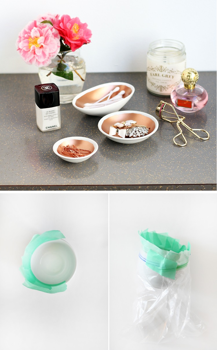 Spray paint copper bowls
