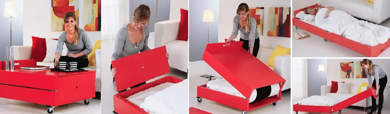More Functions In A Compact Design Convertible Coffee Tables - Table converts to bed