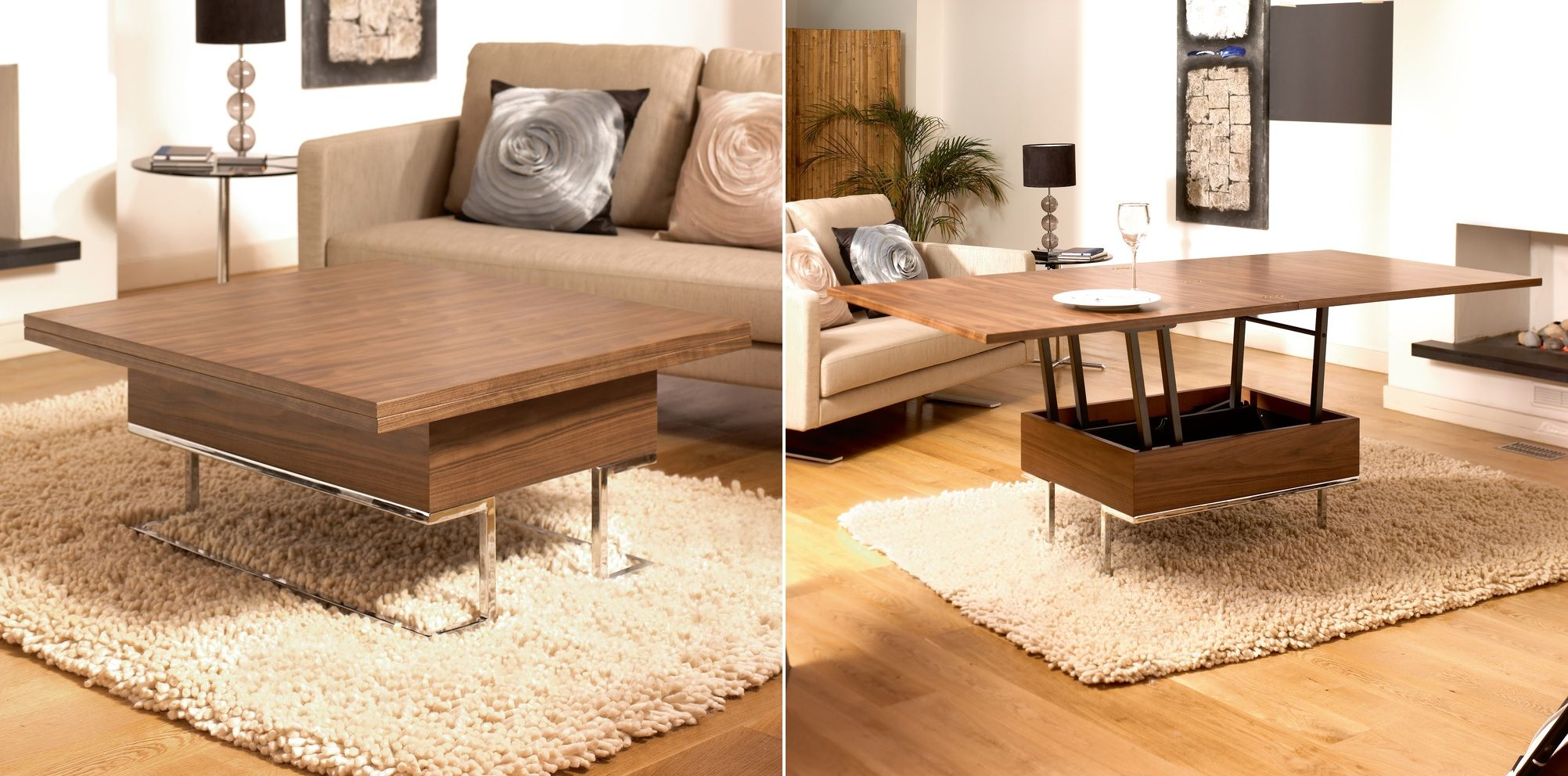 More Functions In A Compact Design Convertible Coffee Tables : Walnut Convertible coffee table from www.homedit.com size 2004 x 992 jpeg 281kB